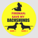 Custom Save My Dachshunds Classic Round Sticker