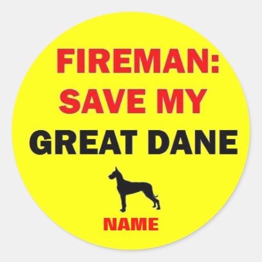 Custom Save My Great Dane Classic Round Sticker