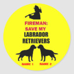 Custom Save My Labrador Retrievers Classic Round Sticker