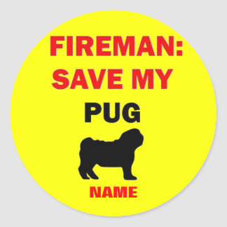 Custom Save My Pug Round Stickers