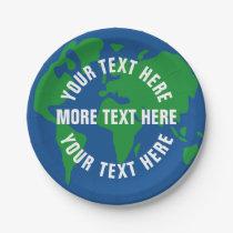 Custom save planet earth paper dinner plates