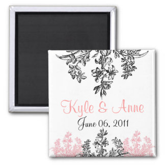 Custom Save the Date Floral 2 Inch Square Magnet