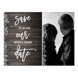 Custom Save the Date floral rustic wood typography Postcard