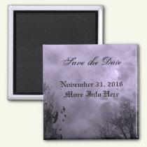 Custom Save the Date Haunted Purple Sky Magnet
