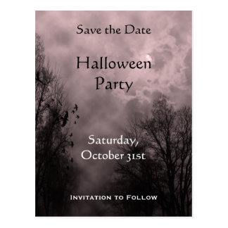 Custom Save the Date Haunted Red Sky Postcard
