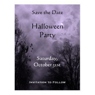 Custom Save the Date Haunted Sky Purple Mist Postcard