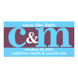 Custom Save the Date - Initials Photo Card