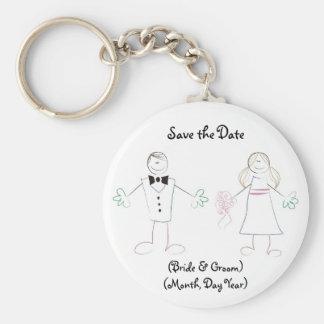 Custom Save the Date Keychain- Cartoon Couple Keychain