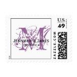 Custom Save the Date Monogram Postage Purple