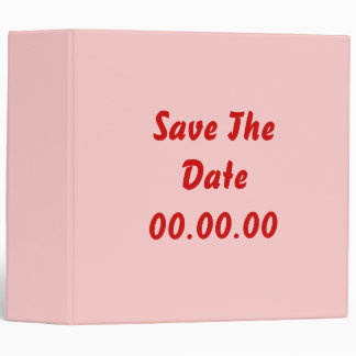 Custom, Save The Date. Red and Pink 3 Ring Binder