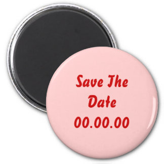 Custom, Save The Date. Red and Pink Fridge Magnet