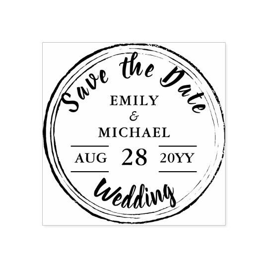 Custom Save the Date Round Wedding Vintage Rubber Stamp