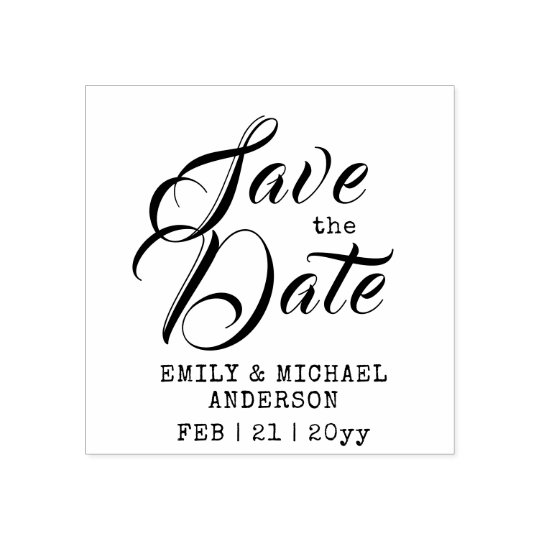 custom save the date stamp handwritten style 2 zazzle com