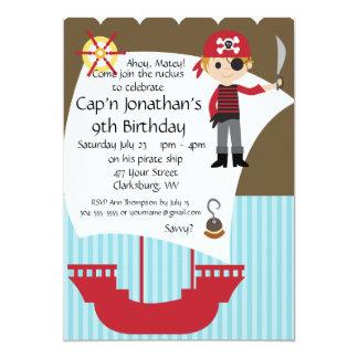 Custom Savvy Pirate Birthday Party 5x7 Paper Invitation Card