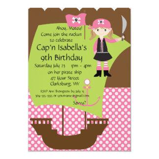 Custom Savvy Pirate Girl Birthday Party 5x7 Paper Invitation Card