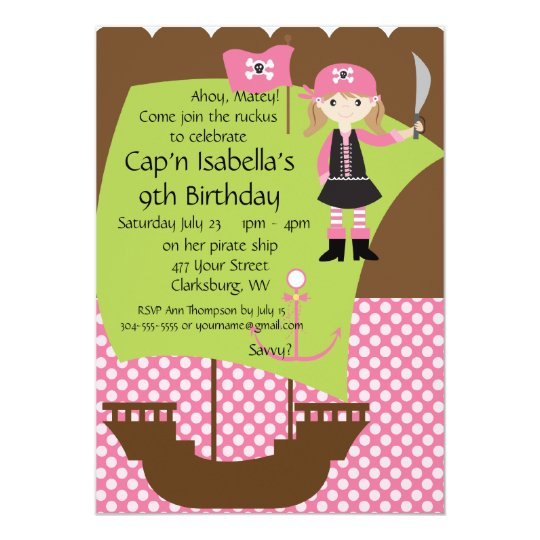 Custom Savvy Pirate Girl Birthday Party Card