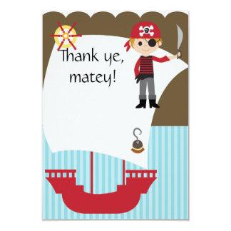 Custom Savvy Pirate Thank You 3.5x5 Paper Invitation Card