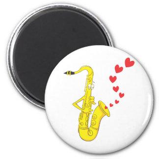 Custom Saxophone Serenading Love 2 Inch Round Magnet
