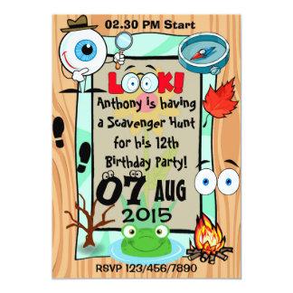 "Custom Scavenger Hunt Themed Kids Party Invitation 5"" X 7"" Invitation Card"
