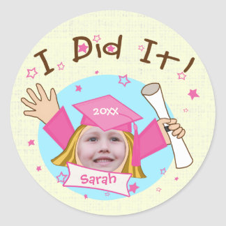 Custom School Girl's Grad Graduation Stickers