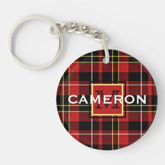 Custom Scots Red Black Yellow White Tartan Pattern Keychain