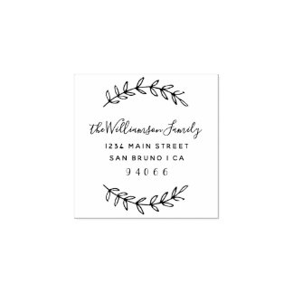 Custom Script Family Name Return Address Rubber Stamp