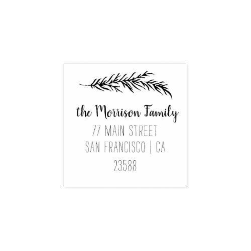 Custom Script Family Name Return Address Rubber Stamp