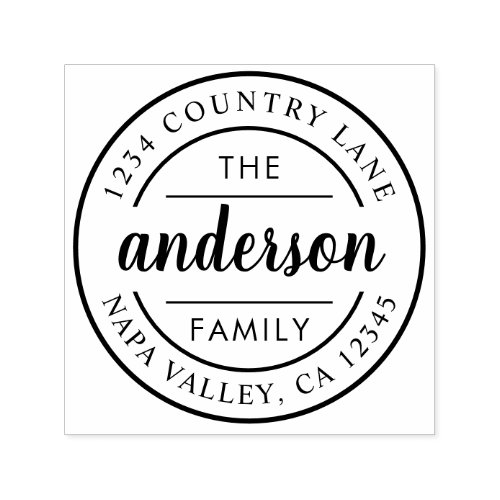 Custom Script Family Name Return Address Self_inking Stamp