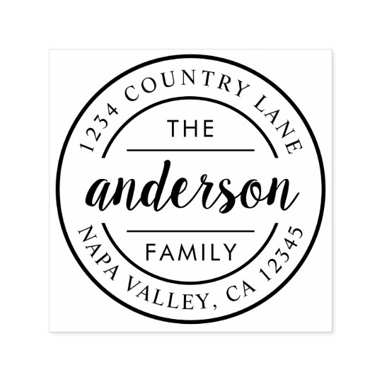 Custom Script Family Name Return Address Self Inking Stamp