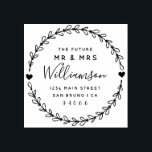 "Custom Script Future Mr & Mrs Return Address Rubber Stamp<br><div class=""desc"">Create your own Custom Script Future Mr & Mrs Return Address rubber stamp with this easy to use template created for you by Rubber Stamps. Featuring customizable rustic script within a hand drawn wreath this design has all you need to add that special touch to your wedding day.</div>"