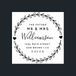 """Custom Script Future Mr & Mrs Return Address Rubber Stamp<br><div class=""""desc"""">Create your own Custom Script Future Mr & Mrs Return Address rubber stamp with this easy to use template created for you by Rubber Stamps. Featuring customizable rustic script within a hand drawn wreath this design has all you need to add that special touch to your wedding day.</div>"""