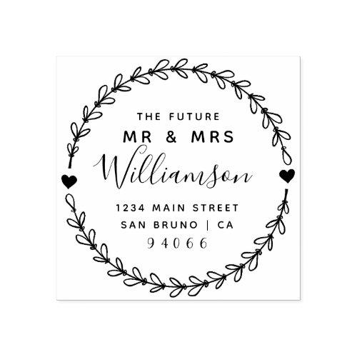 Custom Script Future Mr  Mrs Return Address Rubber Stamp