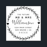 "Custom Script Future Mr & Mrs Return Address Self-inking Stamp<br><div class=""desc"">Create your own Custom Script Future Mr & Mrs Return Address rubber stamp with this easy to use template created for you by Rubber Stamps. Featuring customizable rustic script within a hand drawn wreath this design has all you need to add that special touch to your wedding day.</div>"
