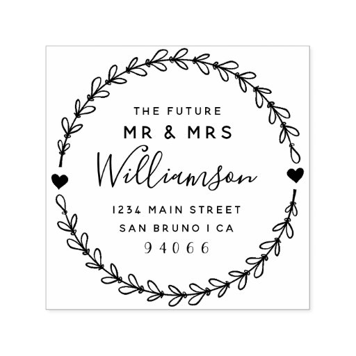 Custom Script Future Mr & Mrs Return Address Self-inking Stamp