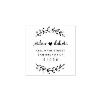 Custom Script Wedding Couple Return Address Rubber Stamp