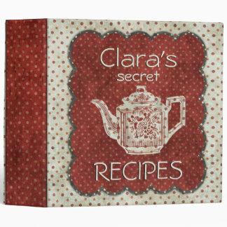 Custom Secret Recipes Red White 3 Ring Binder