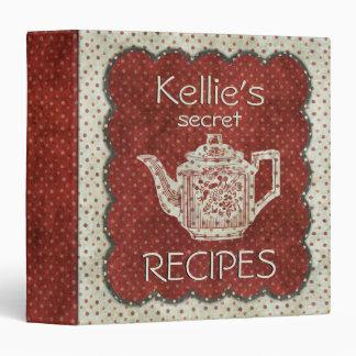 Custom Secret Recipes White Red 3 Ring Binder