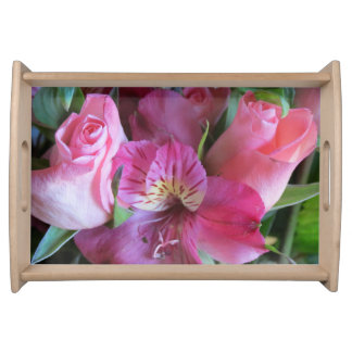 Custom Serving Tray, Pink Flower Serving Tray