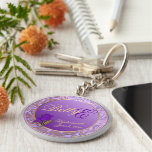 Custom Shades of Lavender Bridesmaid Keepsake Basic Round Button Keychain