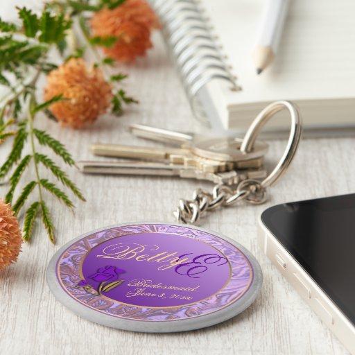 Custom Shades of Lavender Bridesmaid Keepsake Key Chain