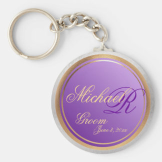 Custom Shades of Lavender Grooms Keepsake Basic Round Button Keychain