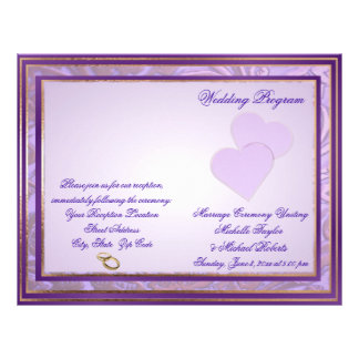 Custom Shades of Lavender Purple Wedding Program
