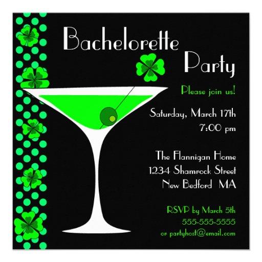 CUSTOM Shamrock Bachelorette Martini Invitation
