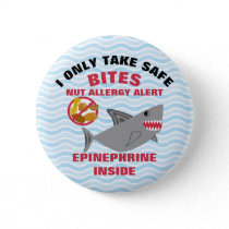 Custom Shark Nut Allergy Alert Personalized Pinback Button