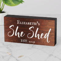 Custom She Shed Rustic Personalized Brush Script Wooden Box Sign