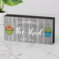 Custom She Shed Rustic Personalized Gift plants Wooden Box Sign