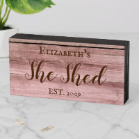 Custom She Shed Rustic Personalized Gift Wooden Box Sign