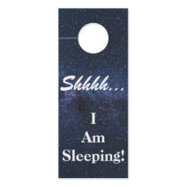 "custom,shhh... i am sleeping"" door hanger"
