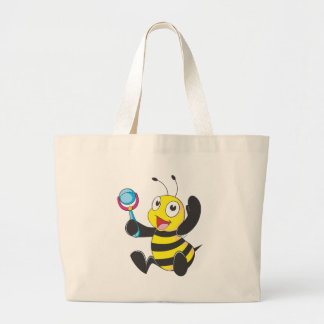 Custom Shirts : Baby with Rattle Bee Shirts Large Tote Bag