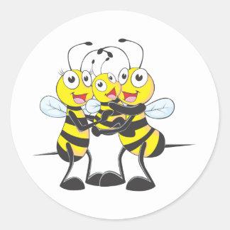 Custom Shirts : Happy Dad Mom Baby Bee Shirts Classic Round Sticker